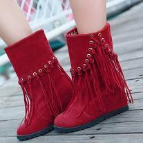2012秋冬新品包邮短靴 甜美流苏靴内增高雪地靴厚底踝裸靴女靴子